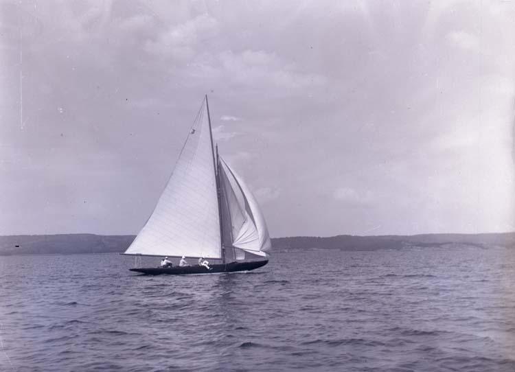"""Enligt text som medföljde bilden: """"Kappsegling Gustafsberg 1915."""" ::"""
