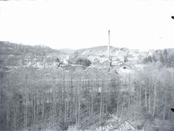 """1930. Munkedals fabrik med omnejd.""  ""Fotot taget från St"