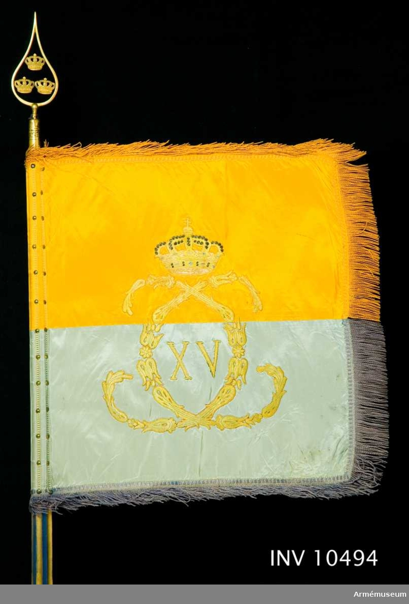 Grupp B.  Duk av taft, dubbel, delad i två halvor, den övre gul, den undre blå. Broderade emblem. På ena (inre) sidan Carl XV:s namnchiffer, dubbla C omkring XV, under sluten kunglig krona, allt i guld. Kronan dessutom med foder i rött silke, pärlor i silver och stenar i blått och rött silke. Plattsöm. På andra sidan Skånes sköldemärke, en röd grip med öppen krona. Gripen är vänd från stången och broderad i olika röda silken med  svarta konturer och vitt öga, allt i schattersöm, kronan gul  med pärlor i silver och stenar i blått och rött silke, allt i  plattsöm. Vapnet omkring 380 mm högt. Kantad med sidenband och 60 mm bred frans i dukens färg. Fäst med förgyllda spikar.  Bredd utan frans 550 mm, med frans 730 mm. Stång av furu, övre delen räfflad, nedre delen slät. Målad blå med guld i refflorna. Längd från spetsen till dukens underkant 600 mm, till handgreppet 1370 mm, till handgreppets nederkant  1580 mm och totalt 2740 mm. Löpande bärring på järnbygel. Stigbygelholk av brunt läder fäst vid bygeln med läderrem. Spets av förgylld mässing, bladet med tre kronor en och två  inom lyrformig ram. Längd 187 mm. Holken längd 85 mm. Fodral av brunt läder med ficka för spetsens blad samt rund knapp med skvadronsmärke. Längd 750 mm och bredd 170 mm.