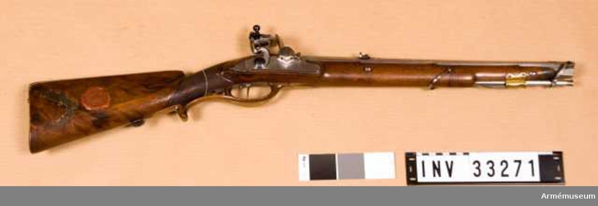 Grupp E II. Studsare med flintlås. Med snälltryck och omvändningshane. Baden 1804.