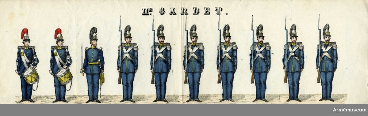 """Grupp M I. Kolorerad litografi föreställande """"11:e Gardet"""".  5 st blad med 10 figurer vardera. H. Lederer i Stockholm (1860-69)."""