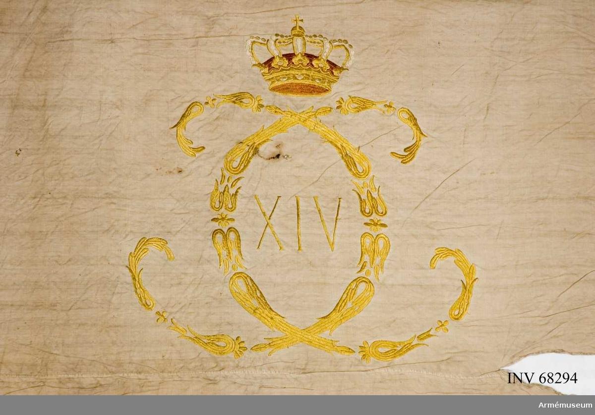 Fanduk med Karl XIV Johans namnchiffer.