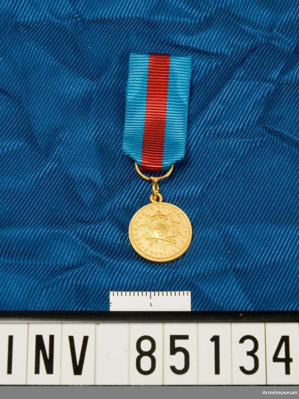 Medaljen är rund. Lilla riksvapnet ovanför två korsade sablar och överlagt ett strålknippe. Band kluvet i blått, rött och blått. Miniatyrmedaljen förvars i ask tillsammans med en medalj.