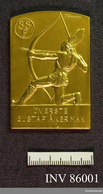 "Grupp MII. ""SSF (Svenska Sportskytteförbundet) .  Plakett i guld."