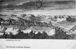"""Text till bilden""""Teckning föreställande Uddevalla 1713 med """""""