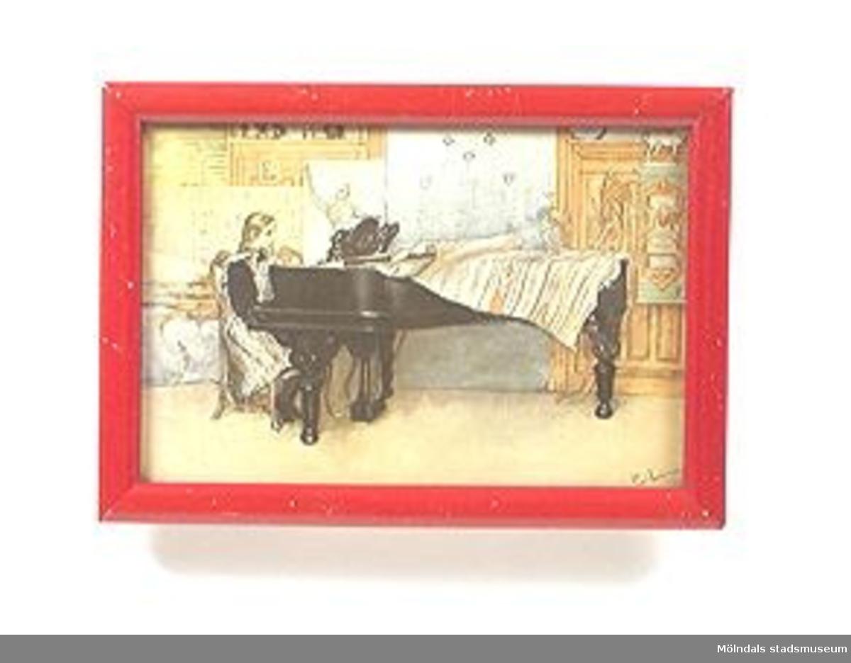Carl Larssontavla med rödlackad ram.