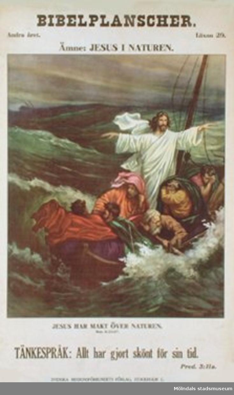 Kristendomskunskap.Bibelplanscher: Jesus i naturen.Jesus har makt över naturen. (Matt. 8:23-27).