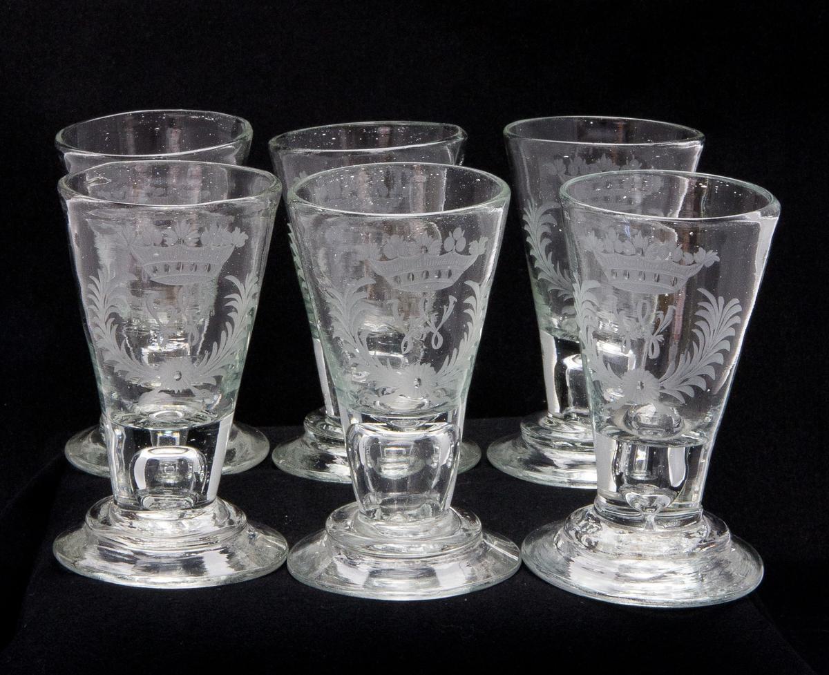 Spetsglas eller brännvinsglas, 6 st.