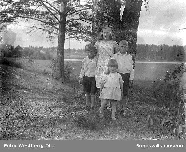 Grupporträtt, fyra barn i utemiljö.