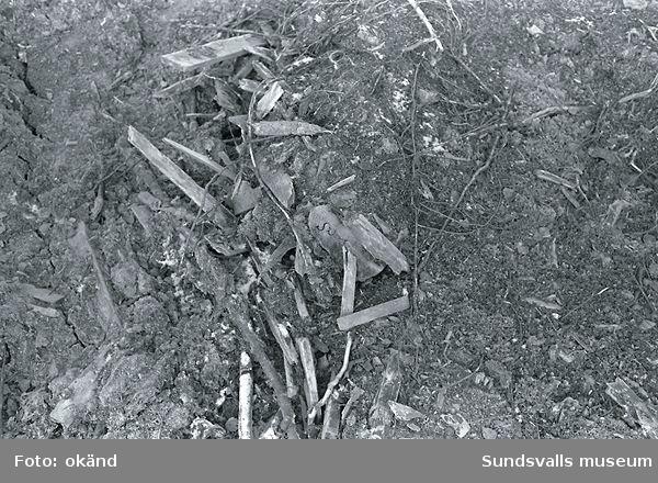 Bodum sågverk, kanal, byggplats, rakaved, grundrester m.m.