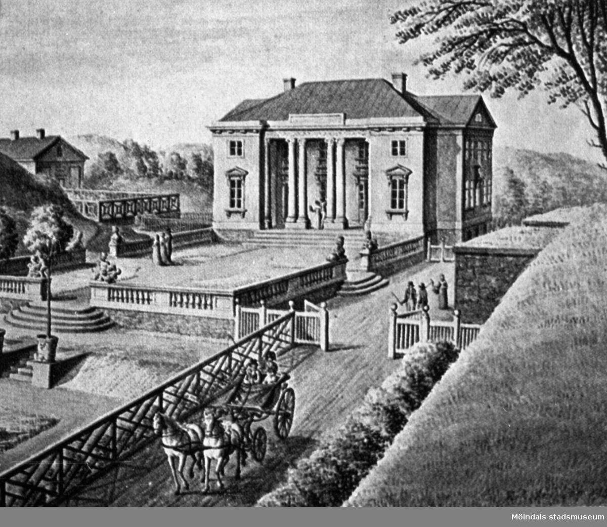 Gunnebo slotts norra sida. Avfotograferad bild från Evert Lundströms bok. Föreställer originalakvarell av J. F. Weinberg.