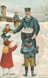 Brevbärare som delar ut post till barn.