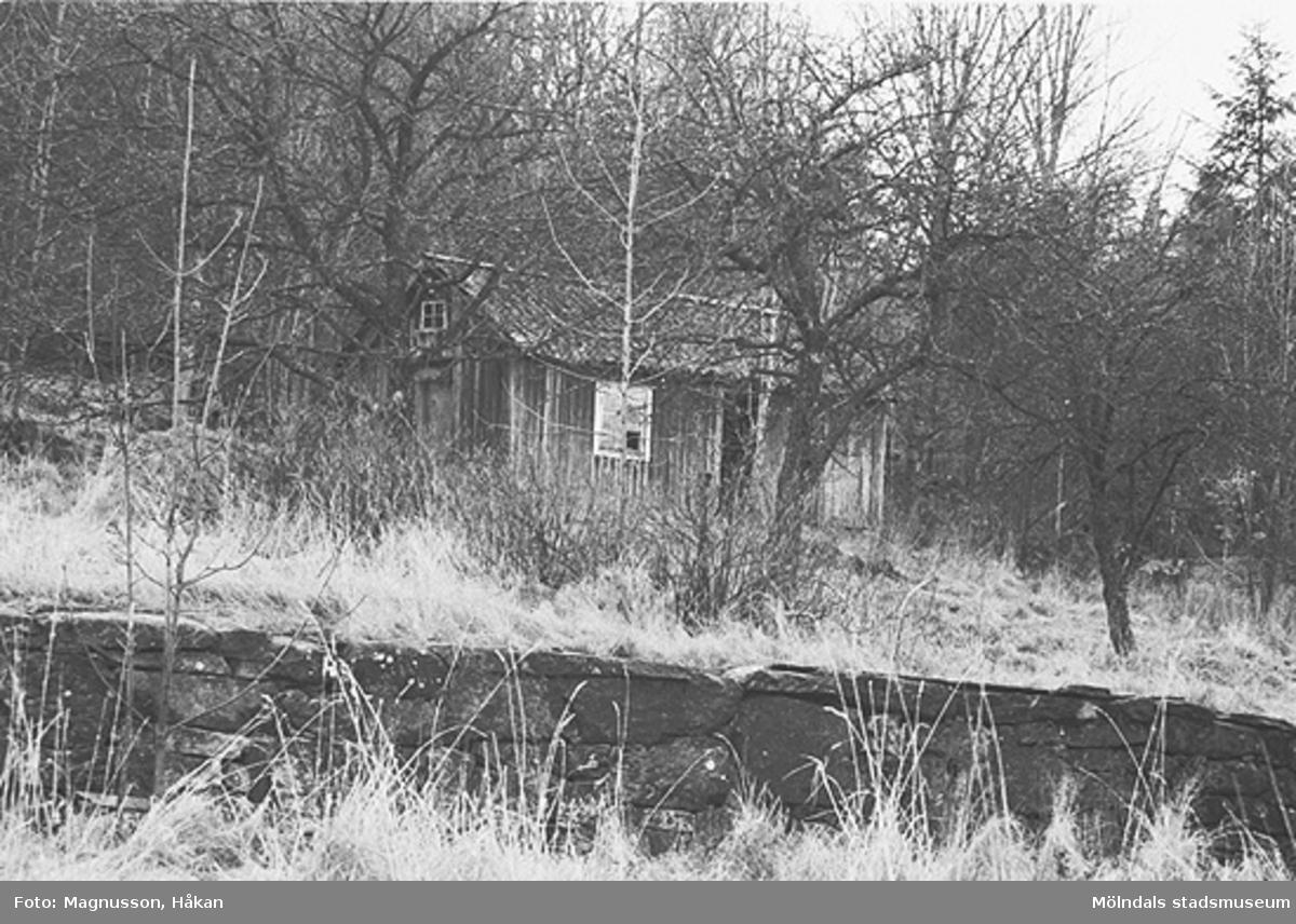 Uthus på Tållered 1:8 i Tållered, februari 1991. Fastigheten ägdes av Werner Karlsson (död 1990).