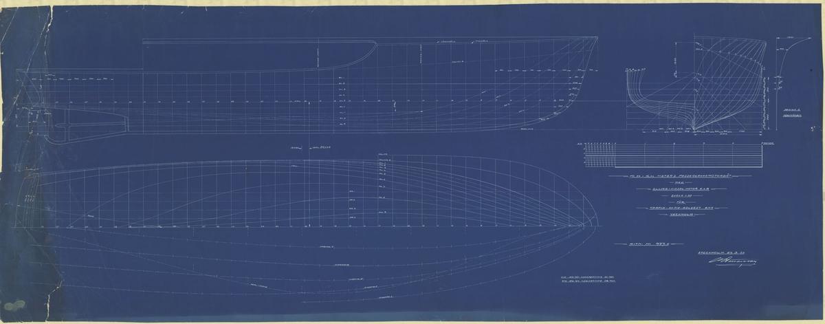 Skiss; linjeritning och spantruta