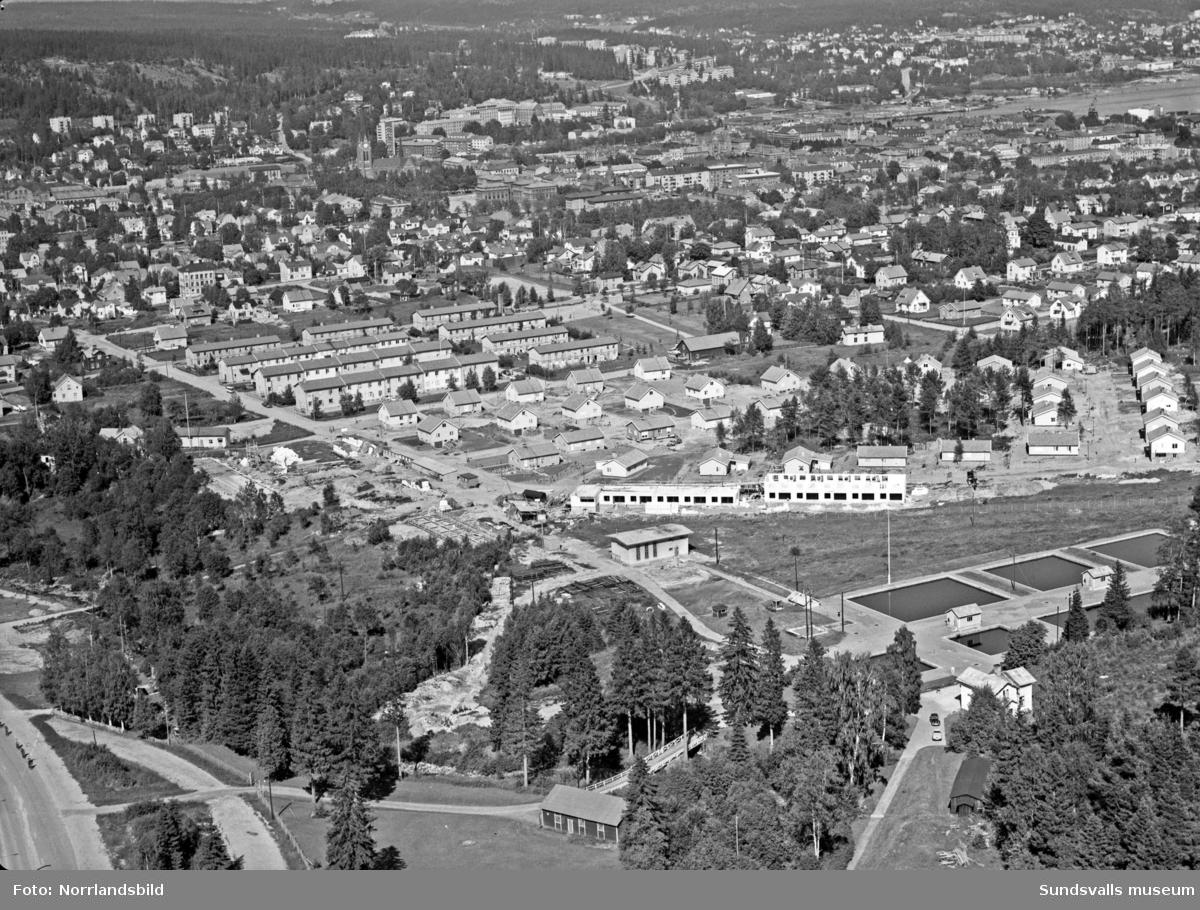 Flygbild över Fagerdal med vattenverket.