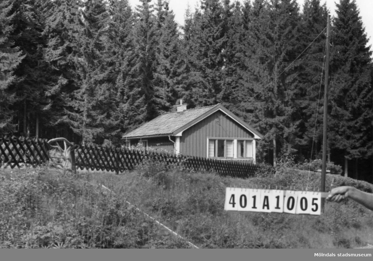 Byggnadsinventering i Lindome 1968. Ålgårdsbacka 1:14. Hus nr: 401A1005.  Benämning: fritidshus och två redskapsbodar. Kvalitet, fritidshus: god. Kvalitet, redskapsbodar: mindre god. Material: trä. Tillfartsväg: framkomlig.