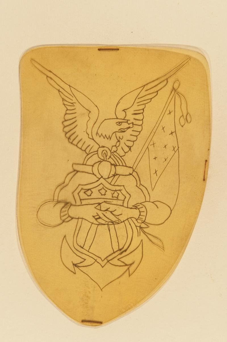 Tatueringsförlaga. Två händer i ett handslag framför en amerikansk sköld och ett ankare på vilket en örn sitter. I bakgrunden till höger en amerikansk flagga.