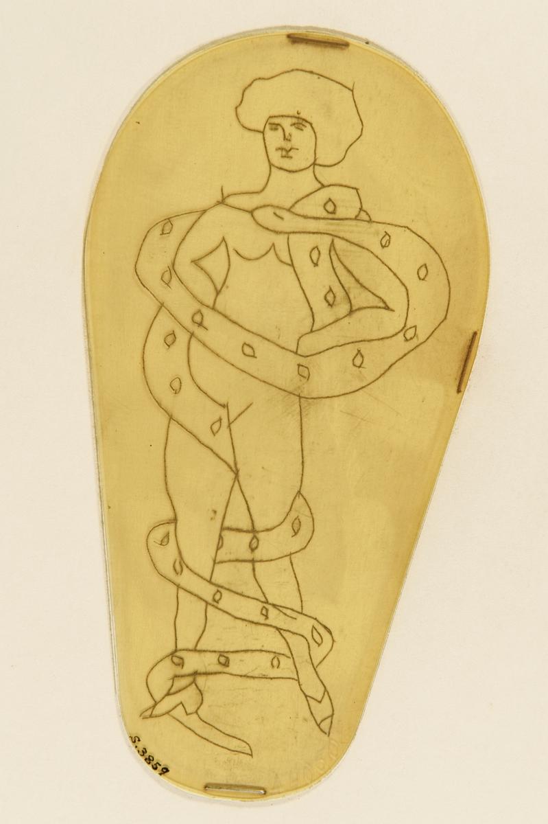 Tatueringsförlaga. En naken kvinna omslingrad av en orm.