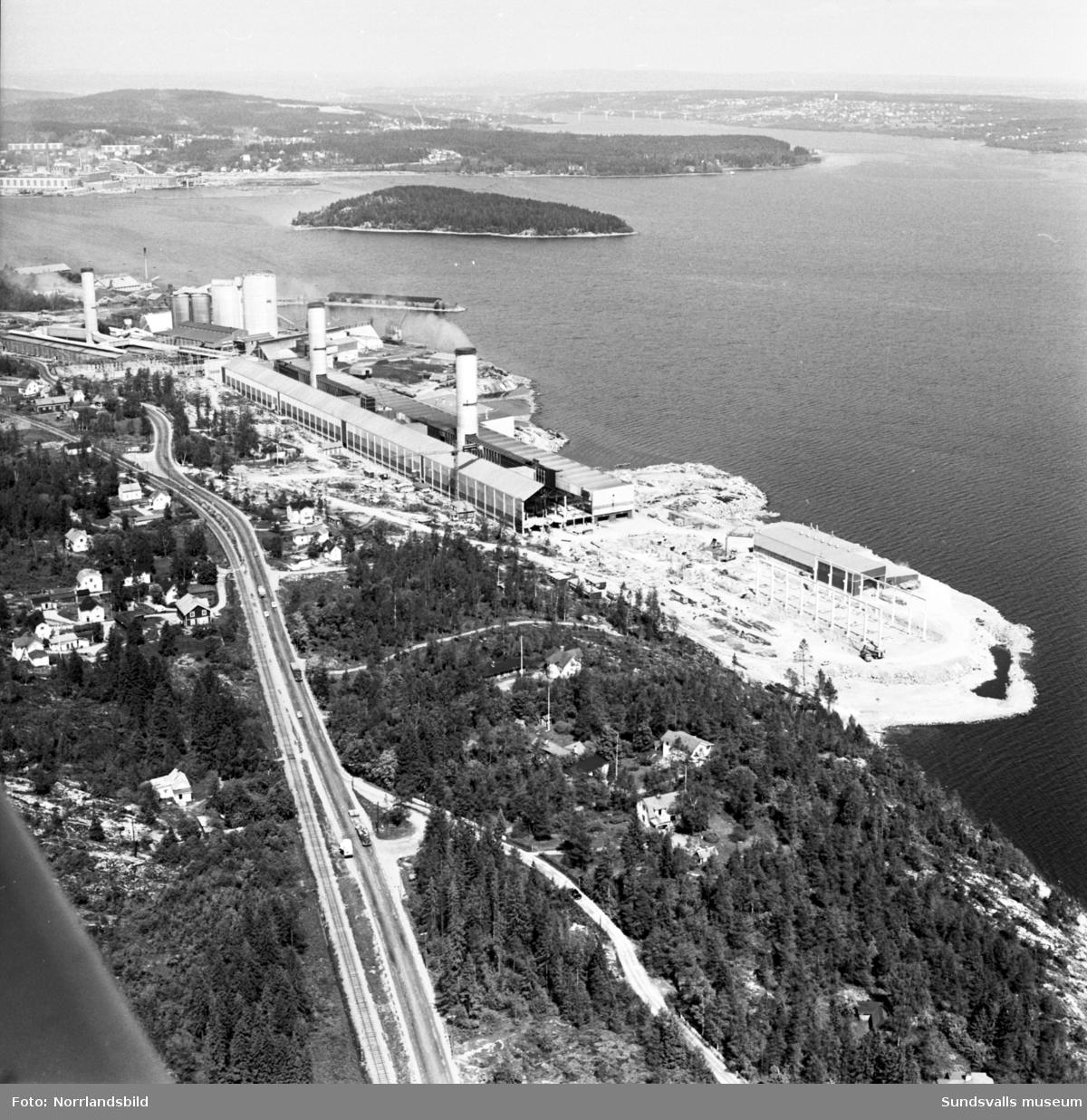 Flygfoto över Gränges-bygget.