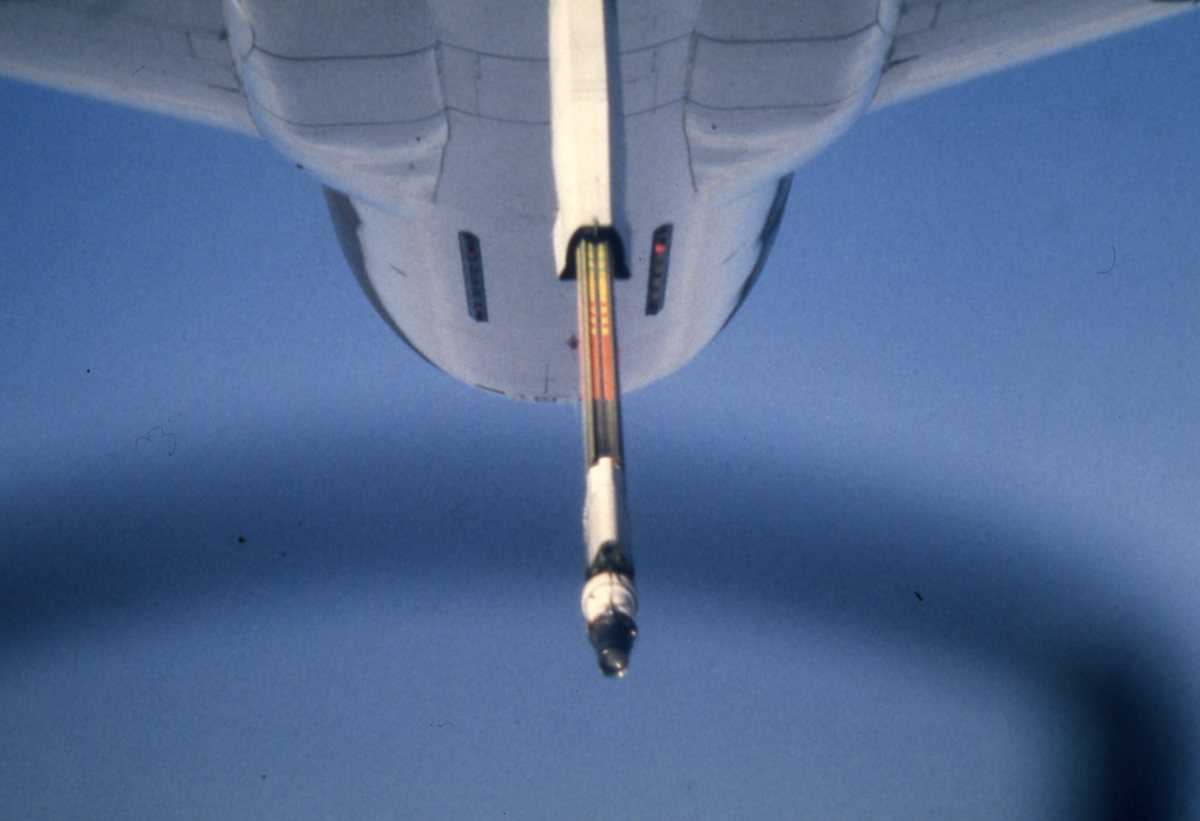 Amerikansk fly av typen KC-10 Extender med utstyr for drivstoff- påfylling.