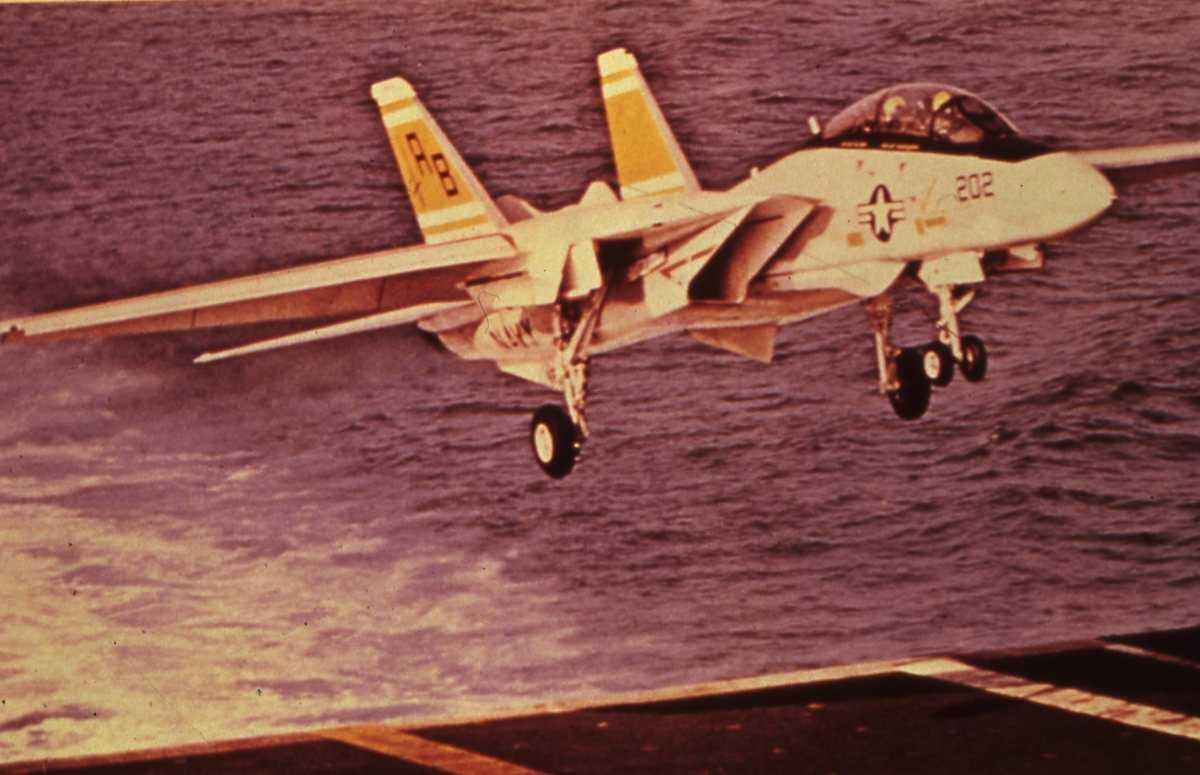 Amerikansk fly av typen F-14 Tomcat med nr. 202.