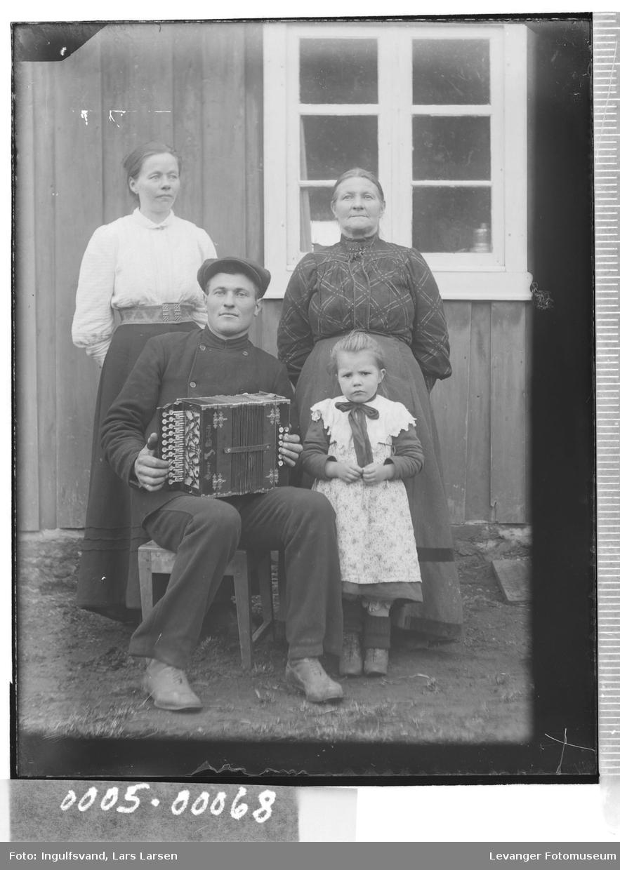Gruppebilde av to kvinner, en mann og et barn..