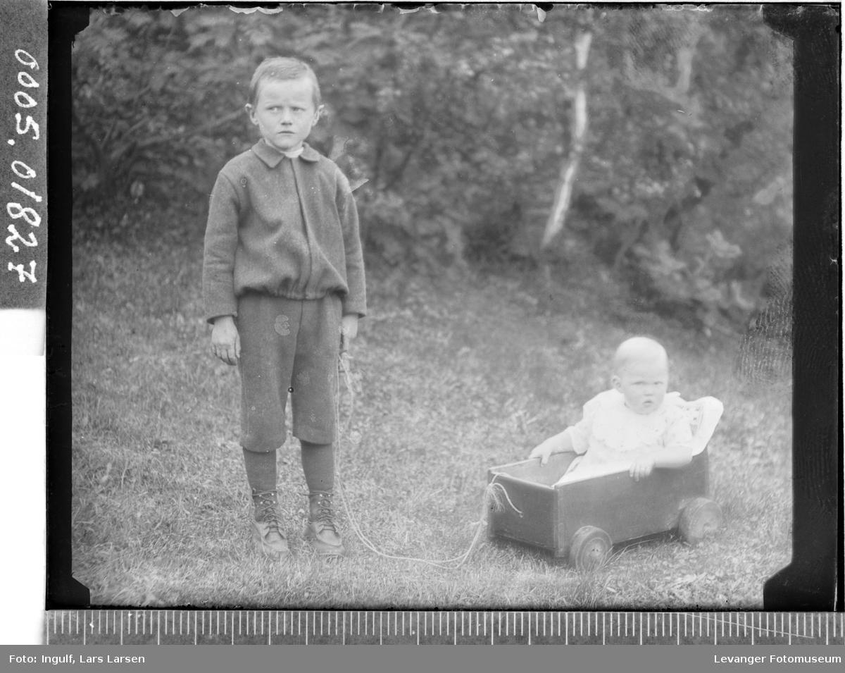 Portrett av en gutt og en jente i en vogn.