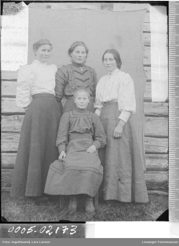 Gruppebilde av fire unge kvinne,