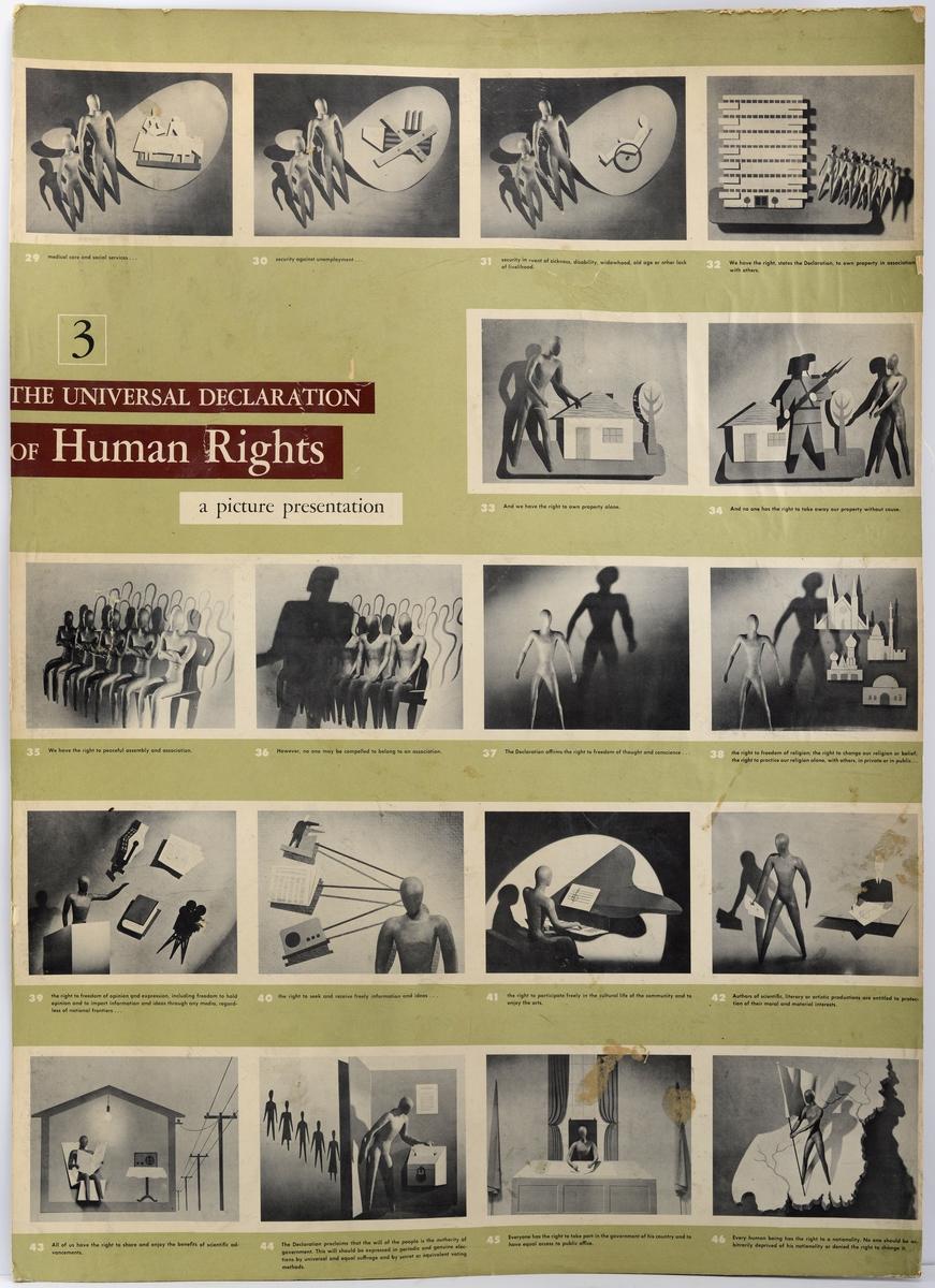 Menneskerettighetserklæringen av 1948 fra Forente Nasjoner(FN). Bilde presentasjon.