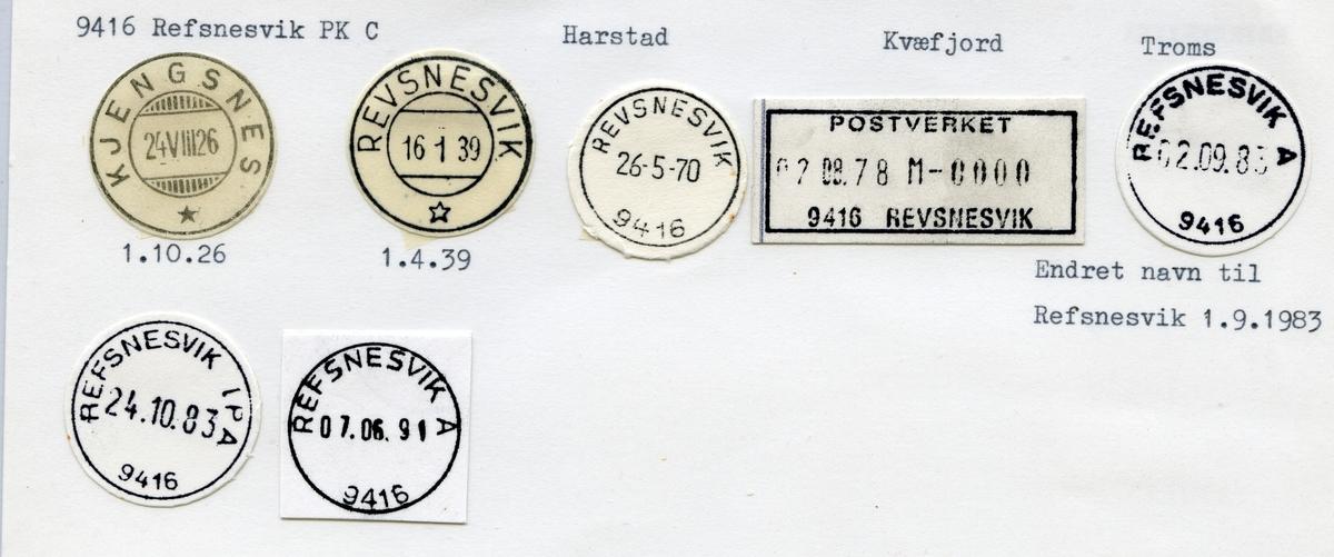 Stempelkatalog 9416 Refsnesvik (Kjengsnes), Harstad, Kvæfjord, Troms