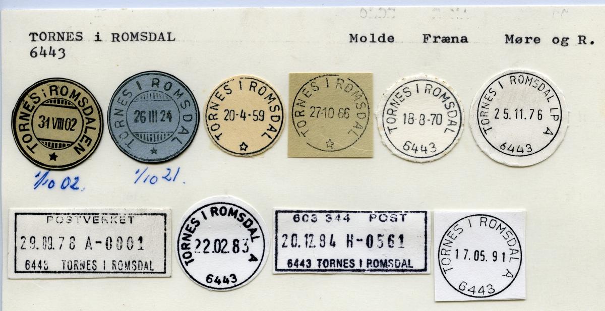 Stempelkatalog 6443 Tornes i Romsdal (Tornes i Romsdalen), Molde, Fræna, Møre og Romsdal