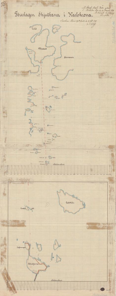 Två ritningar/kartor med förslag till skjutbana i Karlskrona(Söderstjärna).