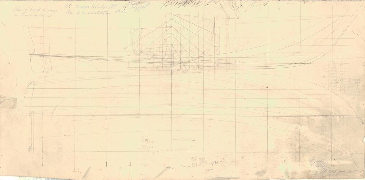 Ritning å 20 knops motorbåt för flyget, den s.k. arbetsbåten. Sektion och sidoritning