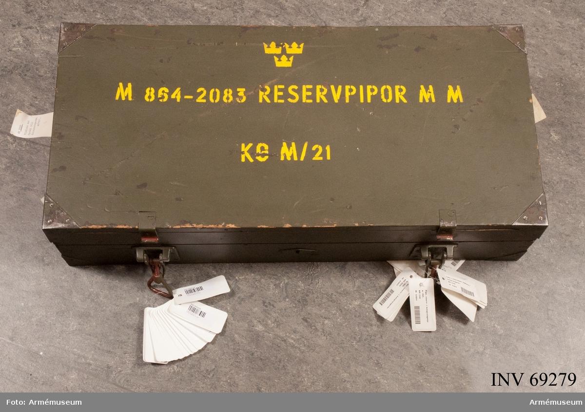 Låda med reservpipor t kulsprutegevär m/1921