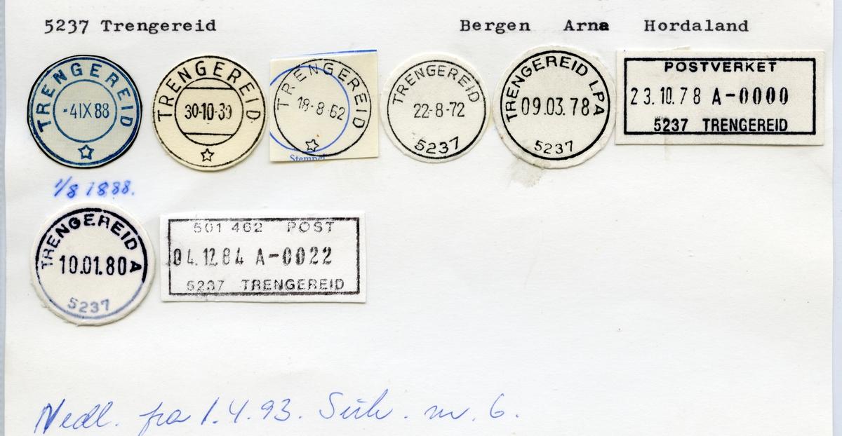 Stempelkatalog 5237 Trengereid, Bergen, Arna, Hordaland