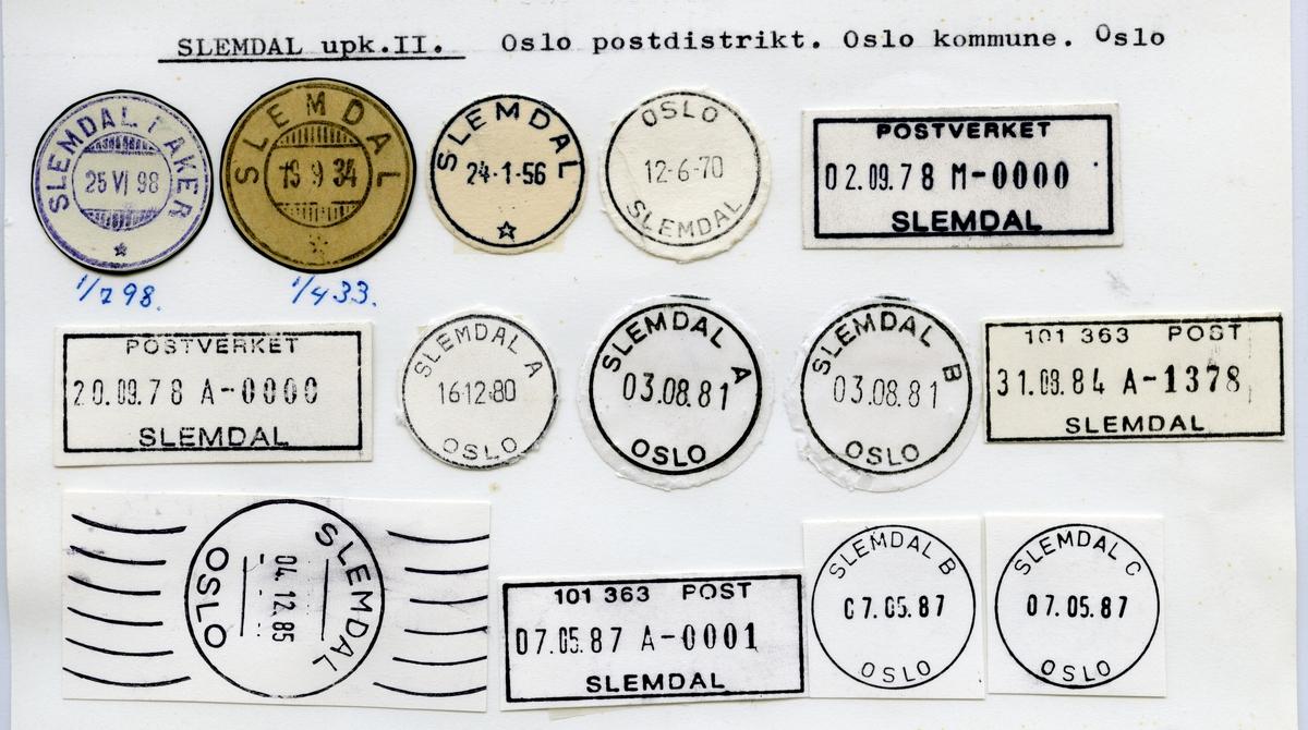 Stempelkatalog  Slemdal, Oslo kommune, Oslo