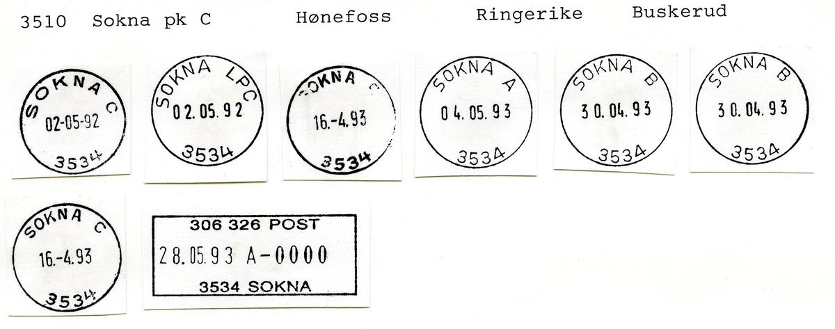 Stempelkatalog  3510 Sokna, Ringerike kommune, Buskerud (Lunder)