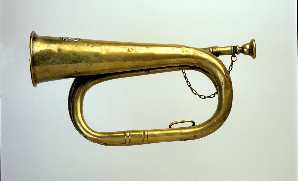 postmuseet, gjenstander, posthorn fotografert til posthornplakaten, trompettype med lenke