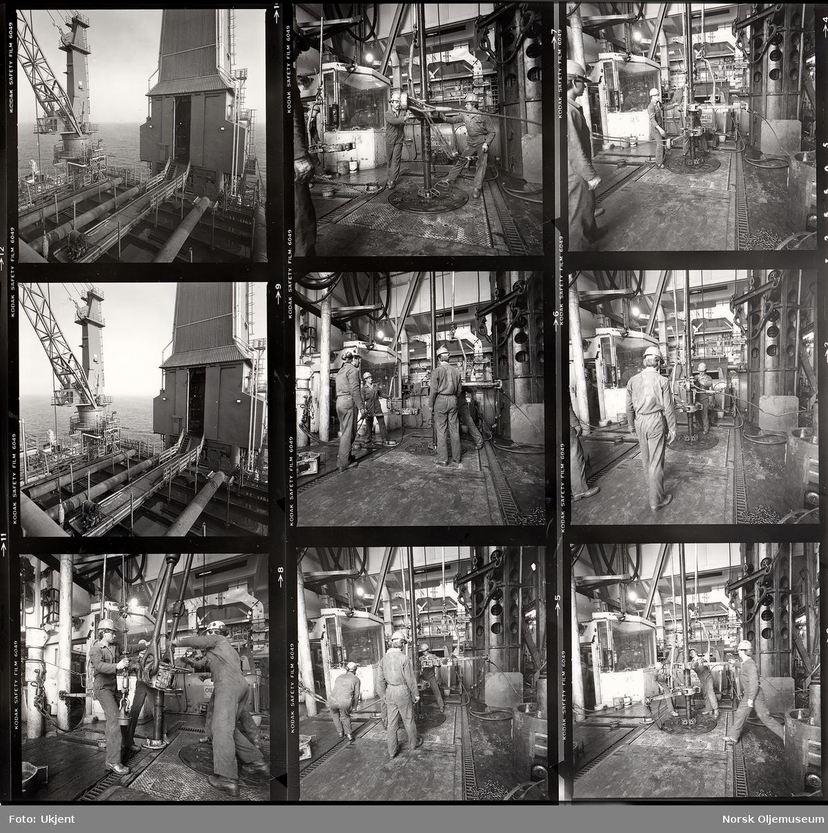 Contact sheet med foto fra arbeid på boredekket. Da DP ble tatt i bruk 17. desember 1981, var det med Norges første tildekkede boretårn.  Tidlig fase i Valhall-feltets utvikling.