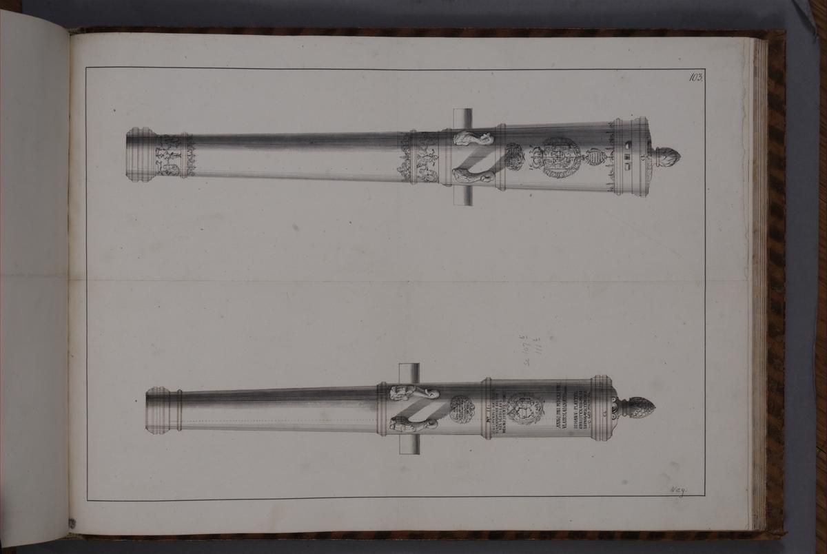 Avbildning föreställande eldrör tagna som troféer av den svenska armén i slaget vid Kliszów den 9 juli 1702. Ingår i volym med avbildade kanontroféer tagna åren 1700-1702.