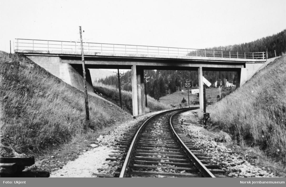 Jernbaneanlegget Mosjøen-Mo i Rana : ferdig bruovergang for riksveg 50 i Finneidfjord, pel 6854+5