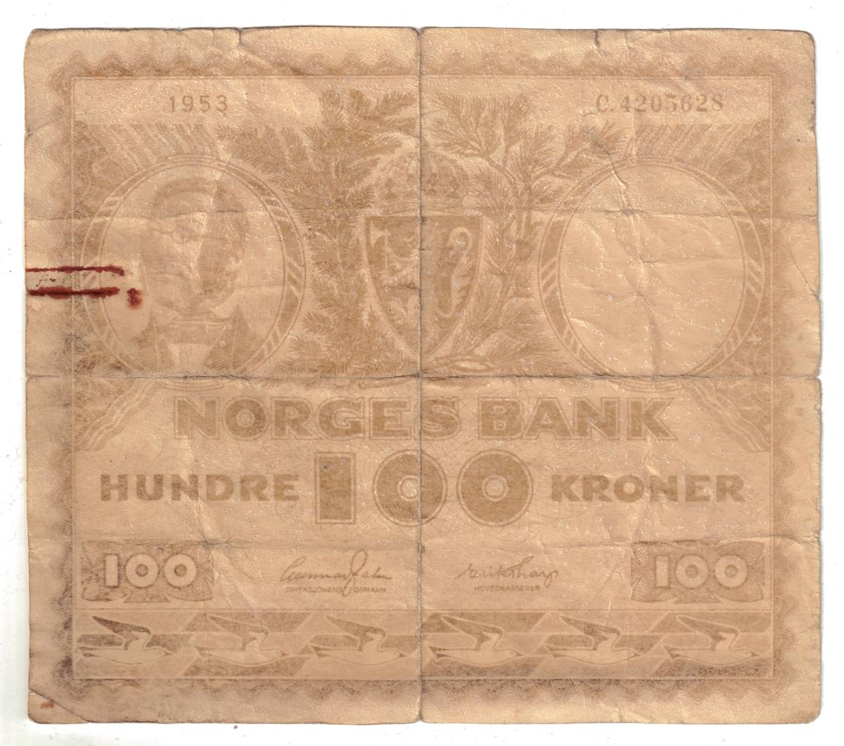Falsk 100kr lapp merket 1953