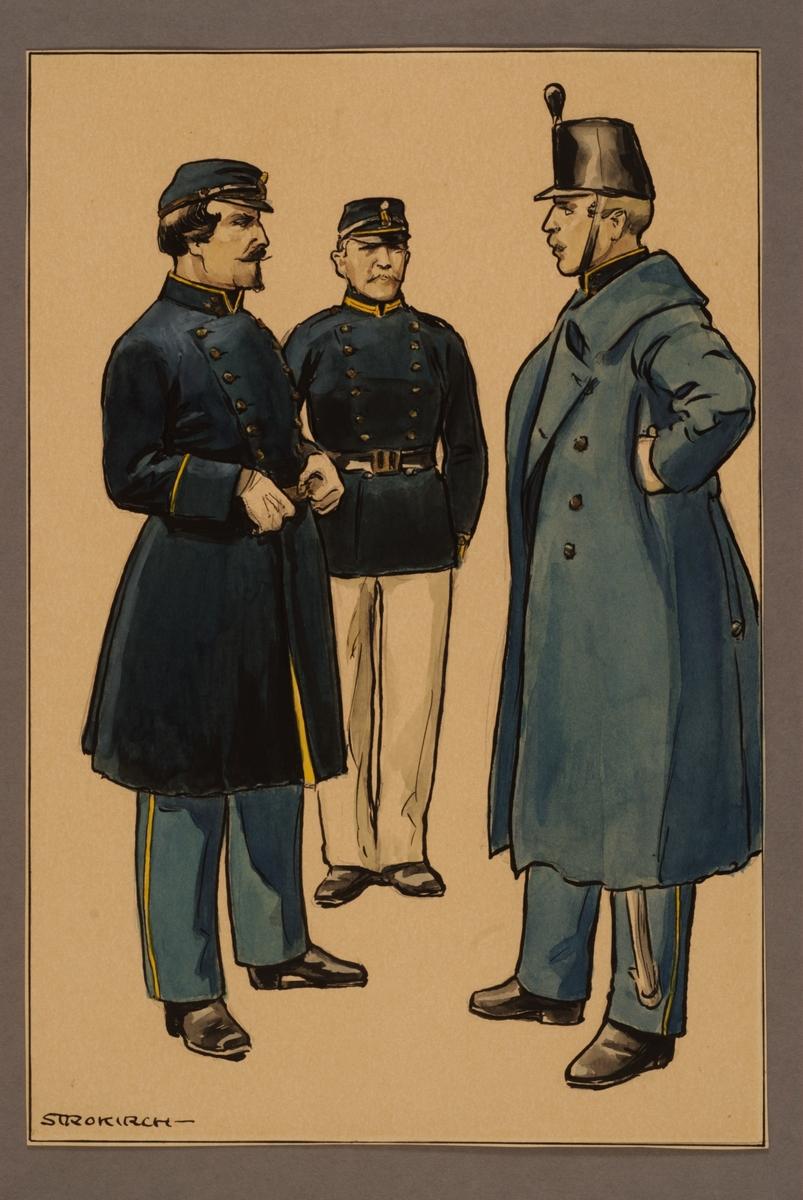Plansch med uniform för officer och menig vid Västgöta regemente 1860, ritad av Einar von Strokirch.