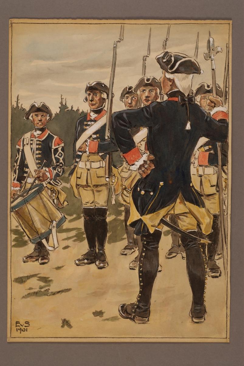 Plansch med uniform för Upplands regemente, ritad av Einar von Strokirch.