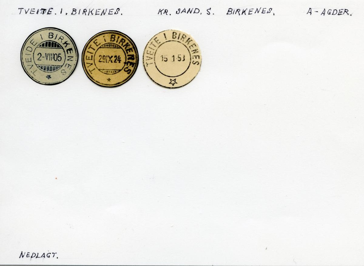 Stempelkatalog Tveite i Birkenes, Kristiansand, Birkenes, Aust-Agder