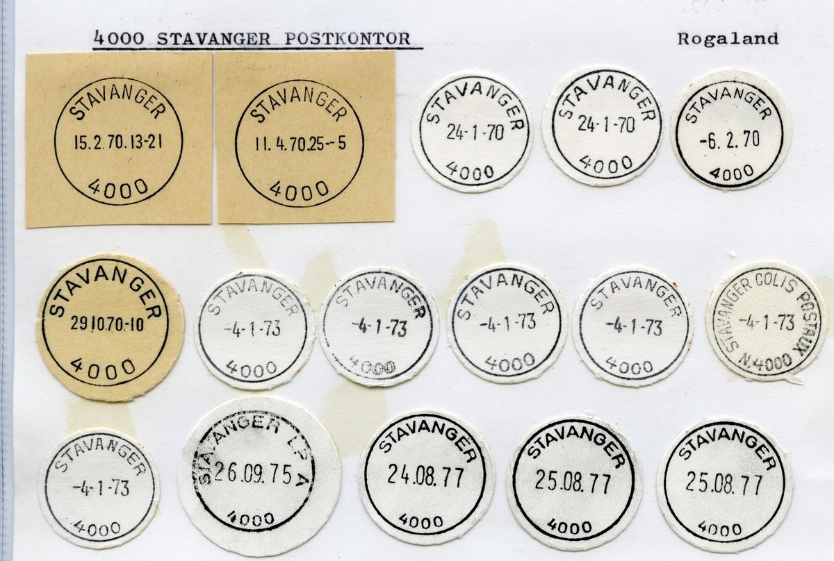 Stempelkatalog  4000 Stavanger, Stavanger kommune, Rogaland (Tatt med reiseavdelingene  Stavanger-Egersund, Jærbanen og Ryfylke)