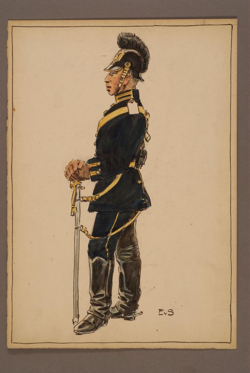 Plansch med uniform för Svea artilleriregemente, ritad av Einar von Strokirch.
