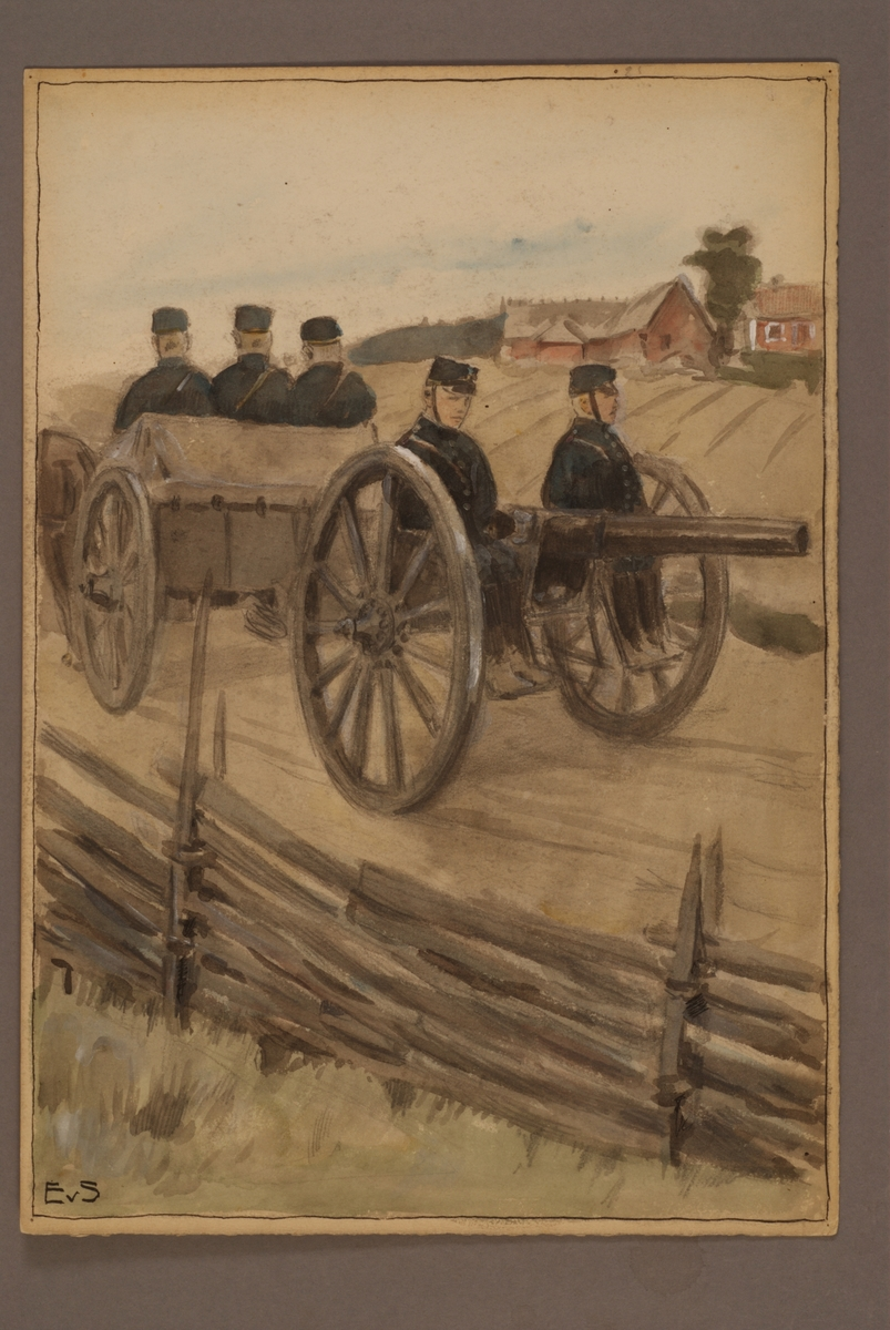 Plansch med uniform för Första artilleriregemente, ritad av Einar von Strokirch.