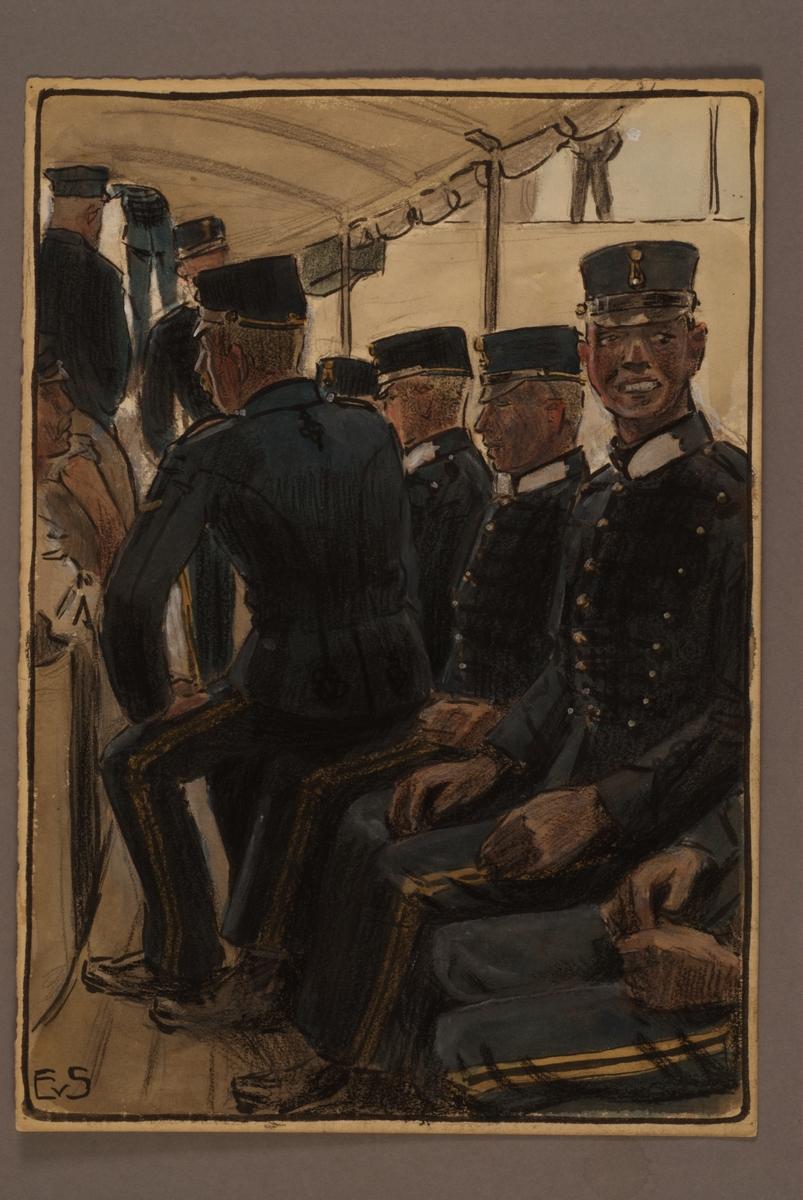 Plansch med uniform för Vaxholm artillerikår, ritad av Einar von Strokirch.