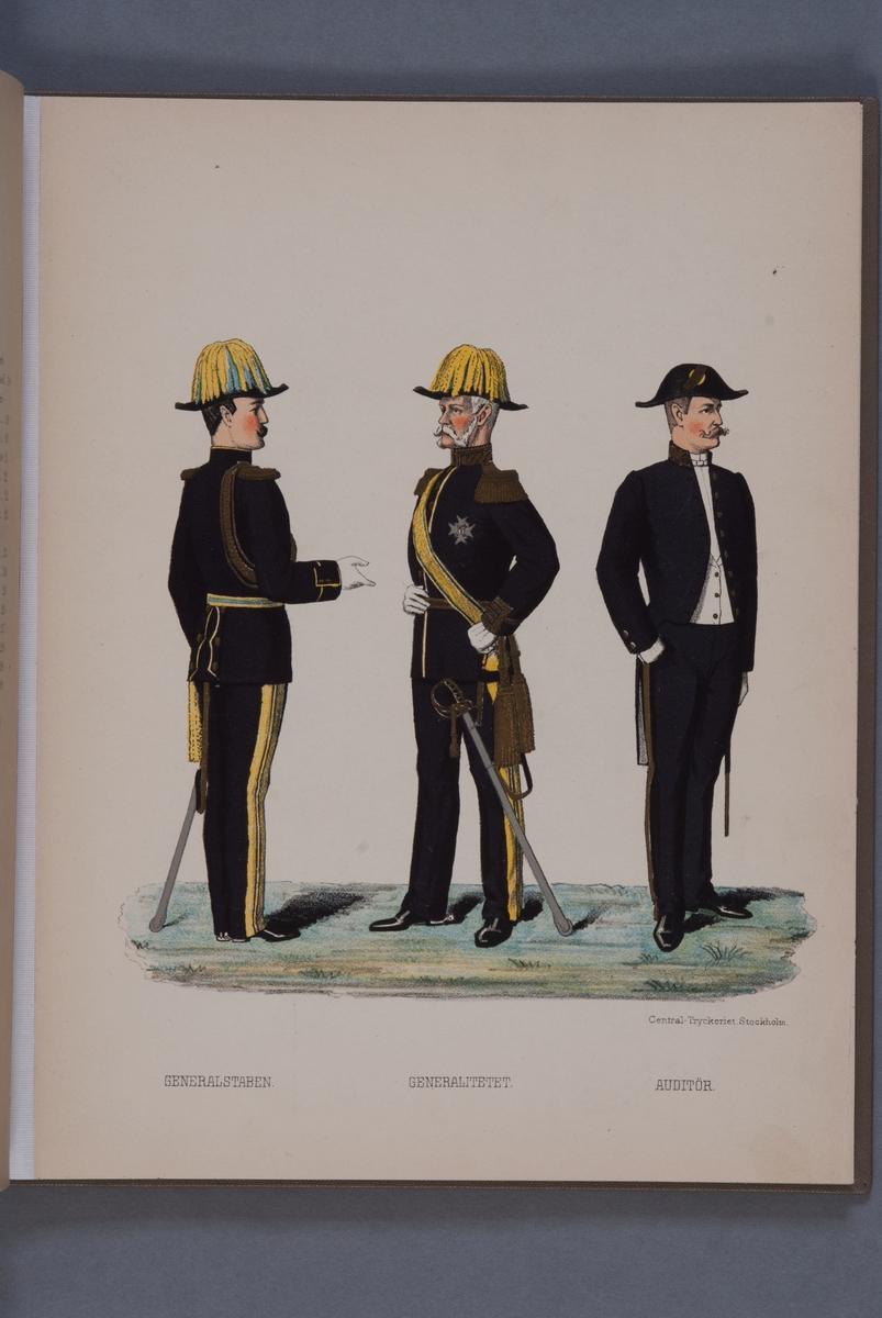 Plansch i färgtryck med uniform för Generalstaben, Generalitetet och Auditör. Ingår i boken Svenska arméns och flottans uniformer, utgiven av P.B Eklund 1891.